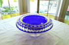 Rare Cobalt Blue Cut to Clear Crystal Rolled Edge Centerpiece Bowl Circa 1930s
