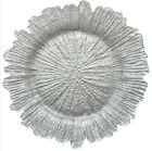 GLASS REEF CHARGER PLATE SILVER XMAS EVENTS WEDDINGS 33CM DIAMETER
