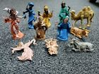 Vintage Nativity Creche Figures ITALY Hard Resin Plastic Antique 12 Pc Set