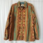 Territory Ahead Tribal Native Long Sleeve Shirt Aztec Print Multi Color Button