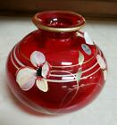 Fenton Glass Ruby Handpainted Floral Fantasy Decorated Vase