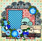 Handmade Retro Blue Flower  Doilies Collage 12x12 Premade Scrapbook Layout Page
