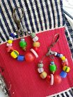 Multi coloured HOOP EARRINGS old antique vintage collectable glass beads Africa
