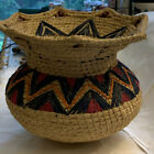 Collectible Decorative Woven Basket Vase Natural  Multicolor