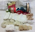 Lot 27 Mixed Assorted Ribbon Trims Lace Edging Schiffli Eyelet Doll Crafts