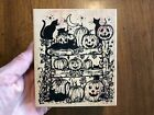 RUBBER STAMP 2002 NORTHWOODS RUBBER STAMPS HALLOWEEN CATS AND JACK O LANTERNS