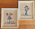 Vintage Completed Set Boy  Girl Needlepoint Professionally Framed Wood  Glass