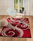 area rug Smt49 Red bold wave pattern soft pile size options 2x3 3x5 5x7 8x11