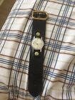 Vintage 1940's Gruen Precision 17 Jewels Leather Military Aviator Band Gold Wind
