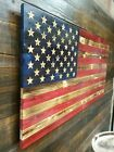 37x19 Handmade Carved Stars Wooden American Flag Rustic Old Glory