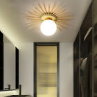 Modern Creative Gold Brass Flower Shaped One White Glass Globe Ceiling Lights