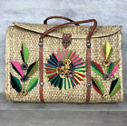Mexico Large Straw Vacation Travel Bag With Floral Design 16 X 20