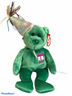 Ty Beanie Babies Plush Bear Happy Birthday May Green w/ party hat  9