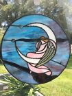 Stained Glass Window Panel Guardian Angel sitting On The Moon