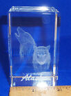 IMAGE 3 CRYSTAL BLOCK BY JAFFA WITH 3D INNER IMAGE WOLVES MOON W ETCHED ALASKA