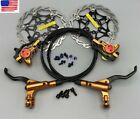MTB Bike Disc Brakes Calipers Hydraulic Front Rear Brake lever Gold Rotors 160mm