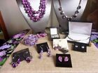 Jewelry Lot 710 Amethyst Purple Glass Necklace NIP Birch Hill Hoops Sonoma