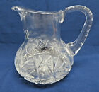 Vintage Heavy Cut Crystal Glass Water Pitcher
