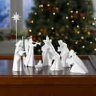 White Porcelain Origami Nativity Set 9 Piece Set Christmas Holiday Decor