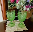 LE SMITH GLASS ? USA Handmade 2 Vintage Hobnail Lime Green Water Goblets Glasses