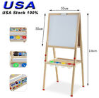 Kids Art Stand Easel Chalk Drawing Double Side Dry Erase Magnetic Board Wood
