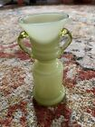 VINTAGE BOHEMIAN GREEN OPALINE GLASS URN 5 1 8 TALL EXCELLENT CONDITION