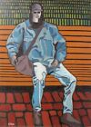 Original Painting Figure on a Bench Acrylic on Masonite Artist Signed CohAn