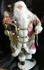 Father Christmas Santa Claus Victorian Doll Figure Brocade And Pearls 17
