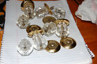 8 LARGE Vintage Cut Glass Crystal DRAWER PULLS WITH BRASS PLATES