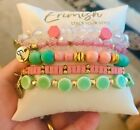 Brand NEW ERIMISH MAGNOLIA MINT PINK BRACELET STACK Beaded STRETCH
