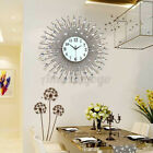 24 Large Lighted Wall Clock Modern Luxury Diamond Crystals Quartz Metal Decor