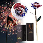 America Flag 24K Gold Foil Dipped Real Rose Flower Home Decor Gifts For Her