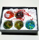 FRIENDSHIP BALL Hand Blown Glass Art Ornaments Set Of 5