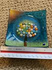 AQUA BLUE Murano Glass Med 4 Tree Of Life Plate Tray Made Bought In Italy