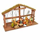 Christmas Nativity Figures and Background Set House Frame Xmas Home Decorations