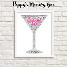 Personalised Cocktail Glass Word Art Print Gift Best Friend Mother Daughter Card