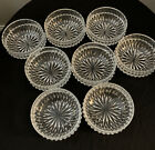 Set Of 8 Vintage Indiana Glass Clear Crystal Diamond Point 4 1 2 Berry Bowls