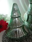 Mercury Glass Christmas Tree Antiqued Pearly Jade Green Fluted 3 Tier 75