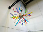 Murano Glass Ceiling Light Fixture Multi Color Glass Arms and Brushed Bronze
