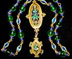 Opulent Hobe Vintage Retro Mid Century Poured Glass Rhinestone Pendant Necklace