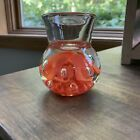 Joe St Clair Art Glass Taper Candleholder Coral Floral Controlled Bubbles