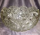 Vintage LE SMITH GLASS Large Daisy Button Clear 125 W Punch Bowl 85 H MINT