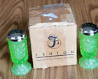 FENTON GLASS KEY LIME GREEN SALT+PEPPER SET FINE CUT BLOCK PATTERN 9106H2 w BOX