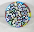 Art Glass MILLE FIORI Paperweight Turquoise Red Yellow Green