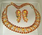 UNIQUE Vtg ORANGE RHINESTONE  GLASS STRIPED STONE NECKLACE Clip EARRING SET