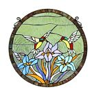 Hummingbirds Flower Design Stained Glass Hanging Window Panel Tiffany Style