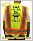 FAA CERTIFIED 107DRONE PILOT SAFETY GREEN VEST HI VISIBILITY REFLECTIVE LARGE