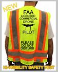 FAA LICENSED COMMERCIAL DRONE PILOT HI VISIBILITY SAFETY VEST +DO NOT DISTURB