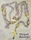 Light Lavender Purple Crystal Rosary Gold OR2002