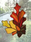 Handmade Stained Glass OAK LEAVES and ACORNS SUNCATCHER OK66
